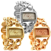 Wholesales 3PCS. Lots Japan PC21S Quartz Good Chain Gold Silver Rose Gold Stylish Bracelet Watch FW675 Double Jewelry Clasp