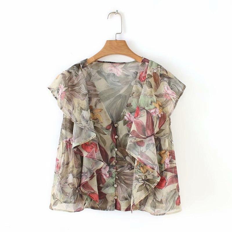 2019 women fashion v neck flower print casual smock   blouse     shirt   women ruffles chic blusas chiffon buckles femininas tops