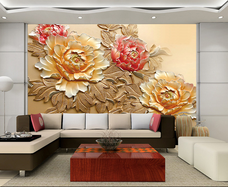 Wholesale 3d Chinese Style Mural With Peony Flower For Sofa TV Background Living Room 3d Wall Photo Murals Vinyl Embossed Fresco