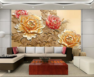 Mural Wall-Photo Living-Room Background Sofa Peony-Flower Fresco Embossed Vinyl Chinese-Style