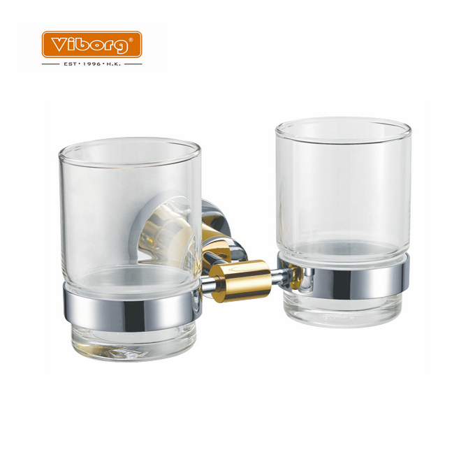 Viborg Luxury Brass Bathroom Wall Mounted Double Toothbrush Cup Holder with 2 Glass Toothbrush Cups, Chrome+24k Gold image