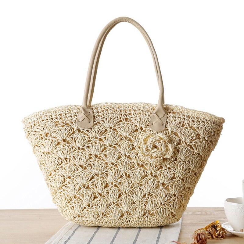 цены на 2017 Summer Beach Bag Straw Large Zipper Woven Straw Handbags Casual Big Shoulder Bag Women Flowers Fashion Ladies Tote Bag в интернет-магазинах