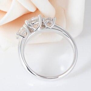Image 2 - Transgemmes anneau danniversaire de fiançailles 3 pierres Moissanite 10K, or blanc, 2,2 ct, 7mm et côté 0,5 ct, 5mm F