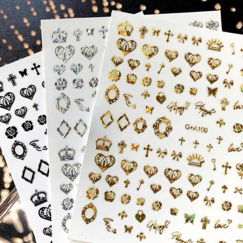 Newest 3d Nail Art Sticker SOLONAILGA Gold Black SILVER Crown Stamp Template Decals Tool DIY Nail Decoration Tools