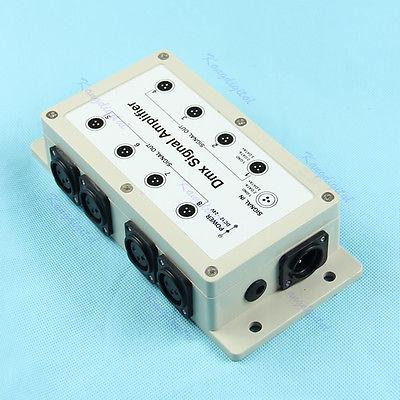 OOTDTY 8 Channel Output DMX DMX512 LED Controller Signal Amplifier Splitter Distributor