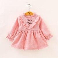 Efectivo de Promoción de Tiempo limitado Sólido Atrás 2017 Ins Populares Niñas Vestido de Otoño Manga de la Llamarada Vestidos de Los Cabritos Para El Bebé ropa Mini