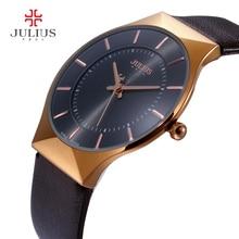 Men Watches Luxury Brand Julius Ultra Thin Full Genuine Leather Clock Male Waterproof Casual Sport Watch Men Wrist Quartz Watch