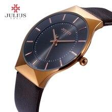 Los hombres Relojes de Marca de Lujo Julius Ultra Delgado Completo Cuero Genuino Reloj Masculino Impermeable Reloj Deportivo Casual Hombres Reloj de Pulsera de Cuarzo