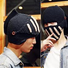 Hot Sale Novelty Roman Knight Helmet Caps Cool Handmade Knit Ski Mask hats Warm Winter Hat Men Women Gift Beanies Free shipping