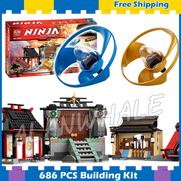 686pcs Ninja Airjitzu Battle Grounds Temple House 10527 Model Building Blocks Children Assemble Toys Bricks Compatible With lego lepin 663pcs ninja killow vs samurai x mech oni chopper robots 06077 building blocks assemble toys bricks compatible with 70642