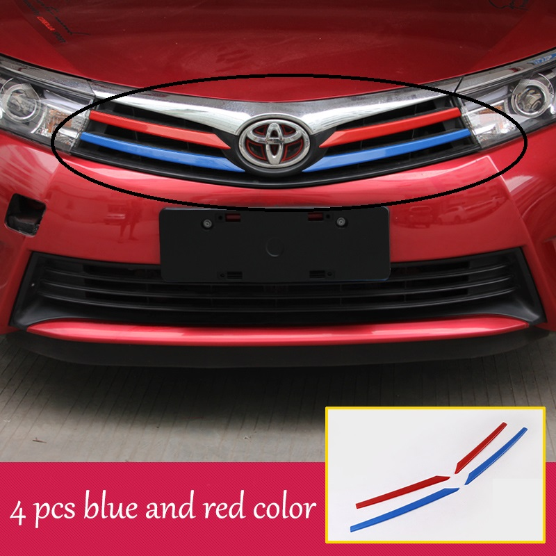 lsrtw2017 car styling car front grill trims for toyota corolla 2013 2014 2015 2016 2017 car front logo trim for toyota corolla altis 2014 2015 2016 car body styling cover detector abs chrome trim front up grid grill grille hoods 1pcs