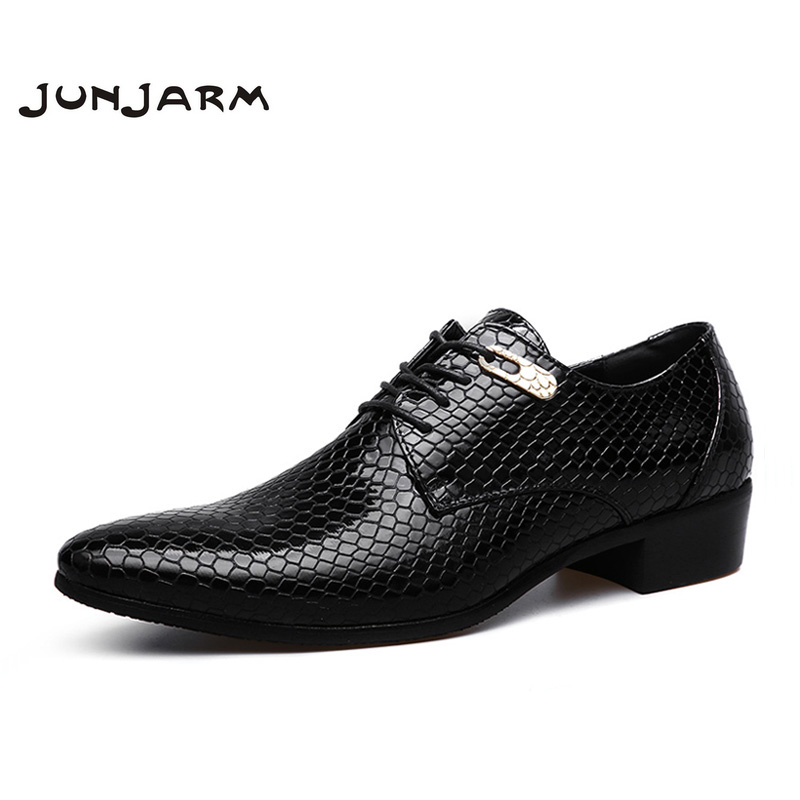 JUNJARM 2017 Brand Formal Men Dress Shoes Microfiber Oxfords Men Business Shoes Classic Office Wedding Mens Flats Big Size 38-47