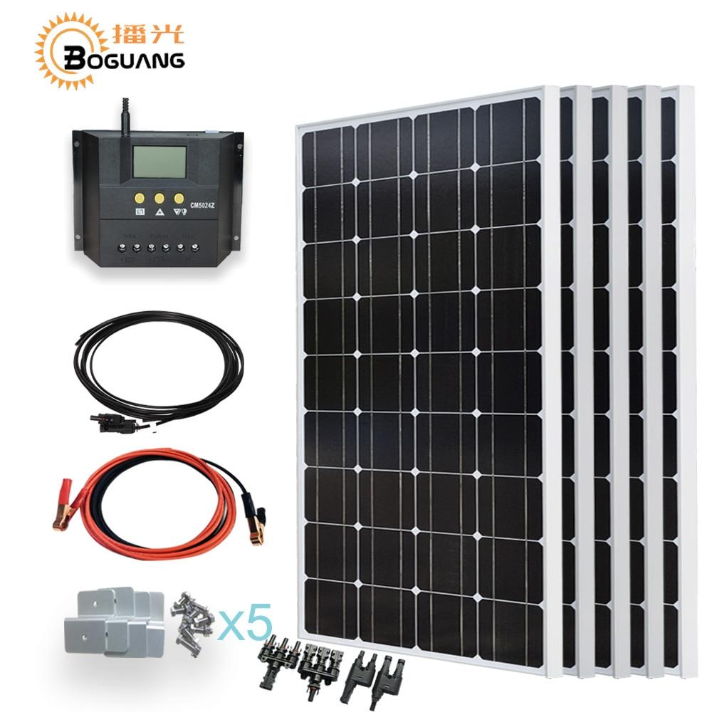 Boguang 5*100 w panneau solaire cellule 500 w solaire système de BRICOLAGE kit 500 w 50A contrôleurs PWM pour 12 v batterie maison toit lumière chargeur