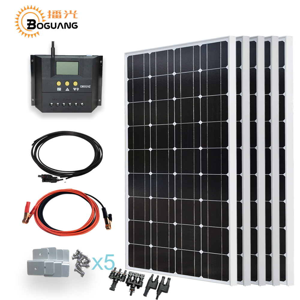 Boguang 5*100w solar panel cell 500w solar DIY system kit 500w 50A PMW controller for 12v battery home roof light power charger boguang 500w semi flexible solar panel solar system efficient cell diy kit module 50a mppt controller adapter mc4 connector