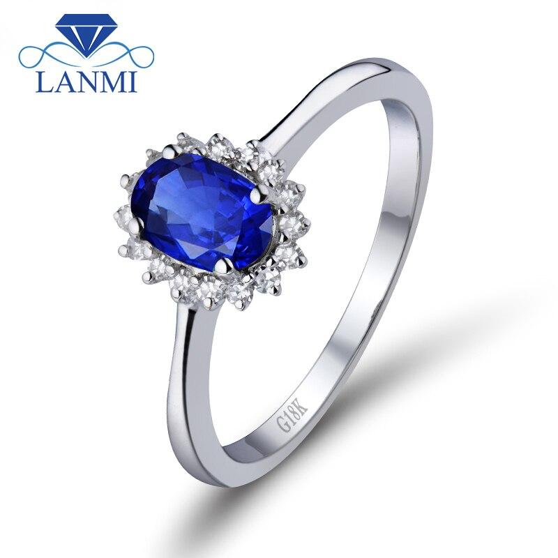 Anel de noivado Oval Azul Safira 6X7mm Genuína Azul Sapphire18K Ouro Branco Anel de Diamante Solitaire WU222