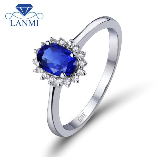 spesso Anello di fidanzamento Ovale Blu Zaffiro 6X7mm Genuine Blu  HU04