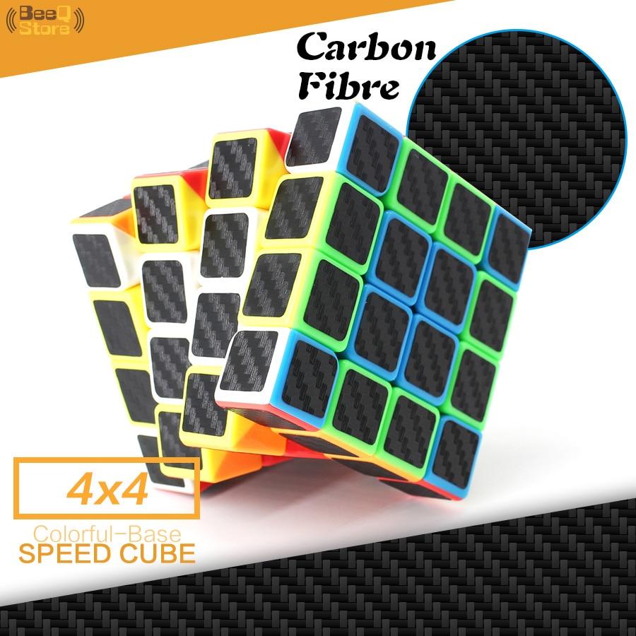 Fibra De carbono Adesivo Cubo Cubo Mágico cubo de Velocidade 4x4x4 4*4 Enigma Profissional Cubo Magico 4x4 Brinquedo Para Presente Das Crianças
