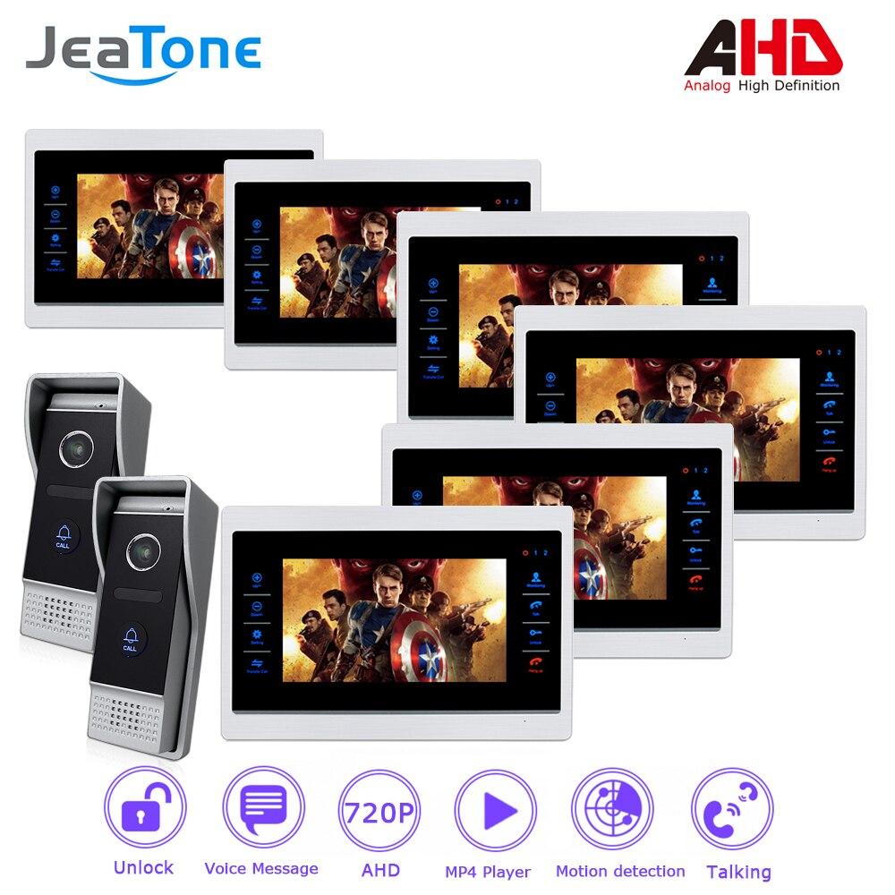 AHD 720P 4 Wired 7'' Video Door Phone Intercom System Door Bell Door Speaker Security Motion Detection/Ring Tone Customized цена