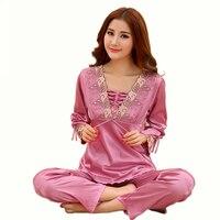 2015 Women Sexy Slim Silk Sleepwear Pajamas Set Home Lounge Pullover Lace Embroideried Satin Pajamas Set