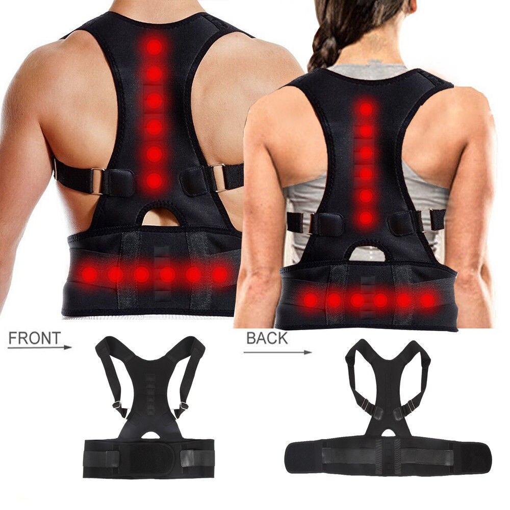 1Pc Unisex Health Care Posture Corrector Support Magnetic Back Shoulder Brace Belt Adjustable Back Posture Corrector Tools