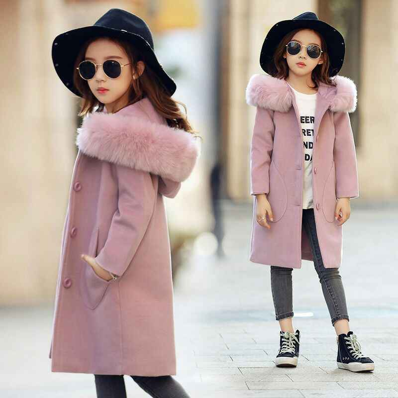 2019 Autumn Winter Girls Fashion Thickening Large Fur Collar Wool Coat Jacket