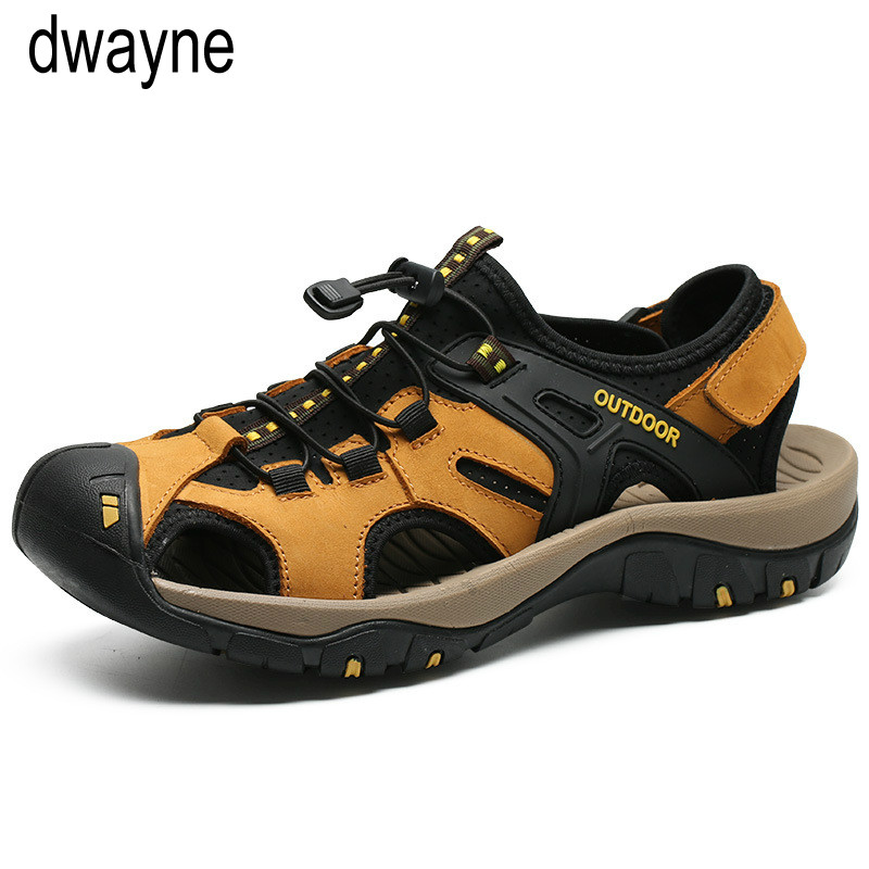 Men Sandals Water-Sneakers Casual-Shoes Business Outdoor Genuine-Leather Man Roman Quality-Design