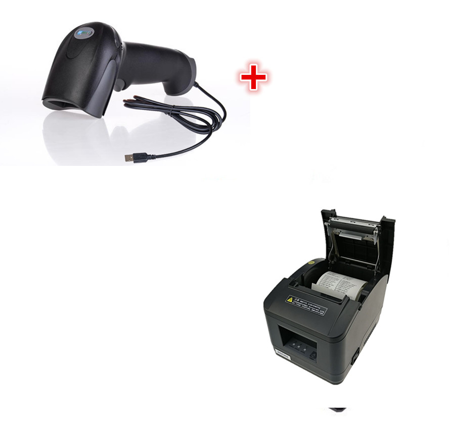 1 scanner+wholesale brand new High quality pos printer 80mm thermal receipt Small ticket barcode printer automatic cutting label printer htrp new upgrade high quality 80mm pos thermal printer bills receipt printer multifuncional printers