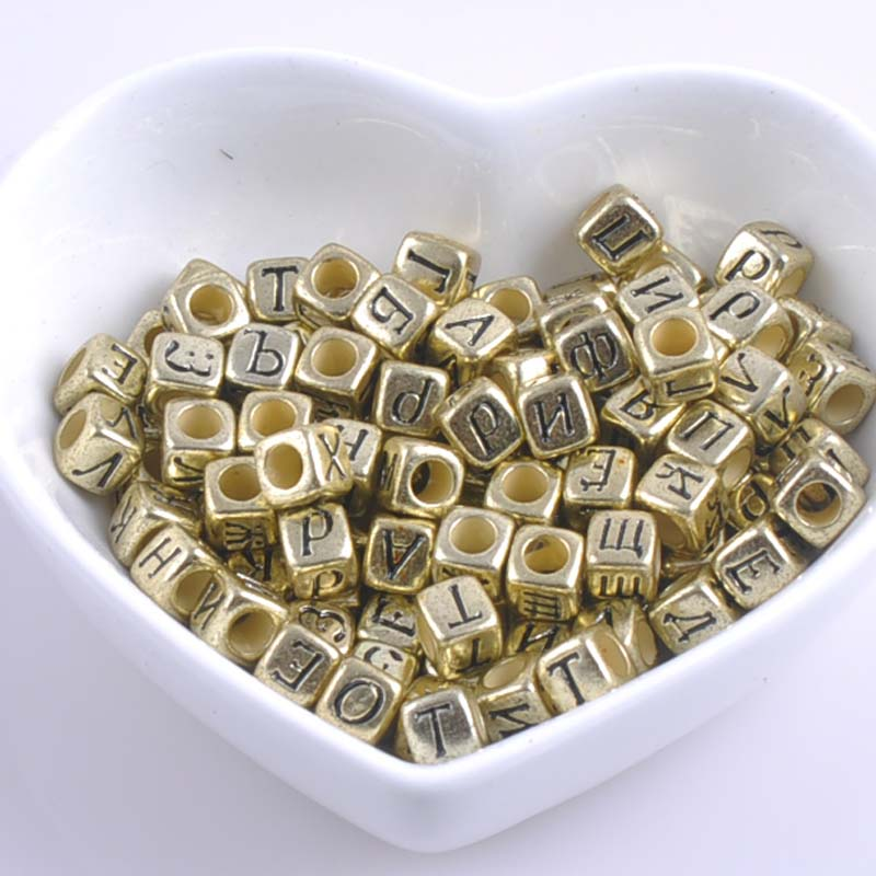 Jewelry & Accessories Latest Collection Of 200pcs Mixed Gold Acrylic Russian Alphabet Letter Flat Cube Beads For Jewelry Making 6x6mm 2017 New Ykl0513x Beads