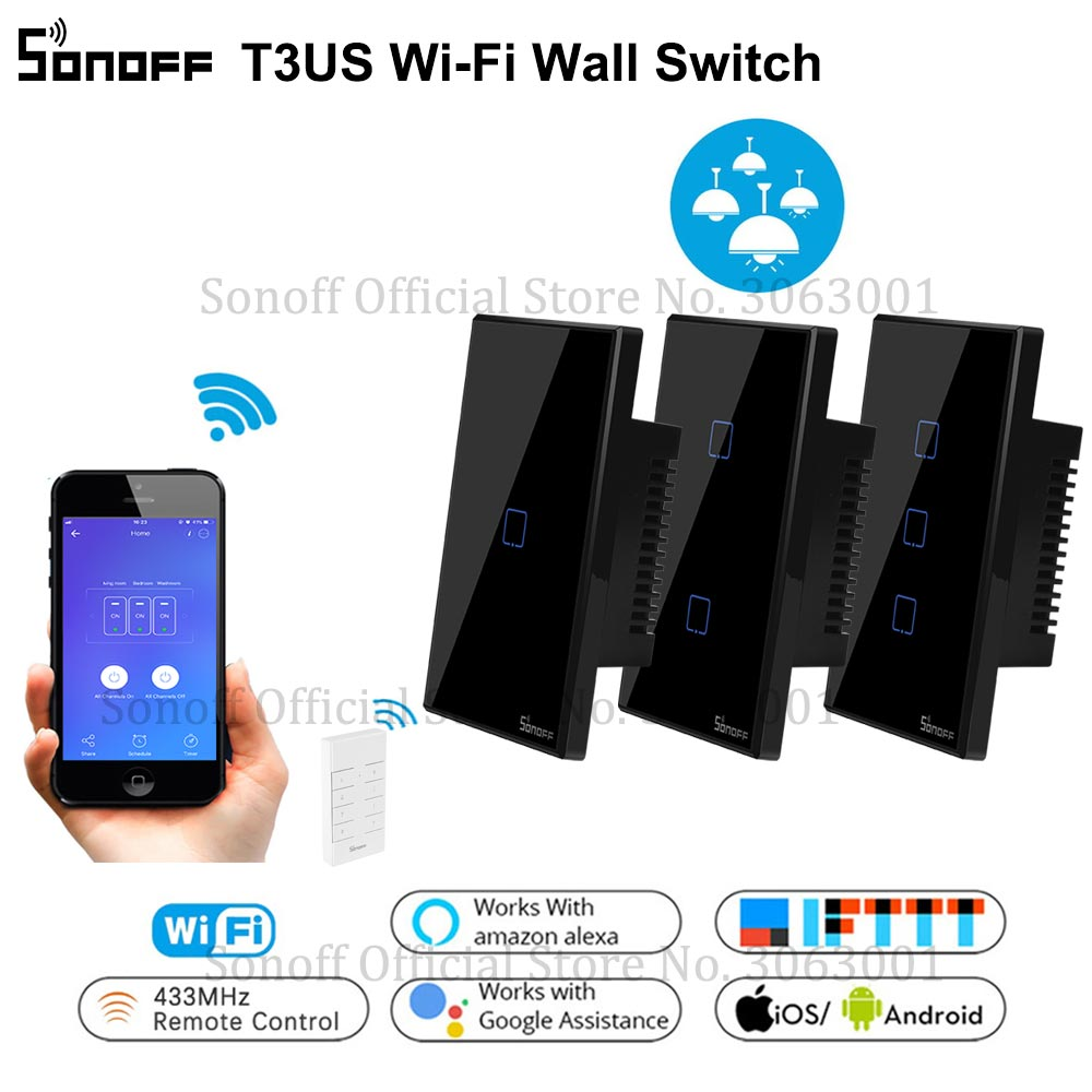 SONOFF T3 Wi-fi Inteligente EUA Interruptor de Luz de Parede Preto 120 Tipo Com Fronteira 1/2/3 Gang