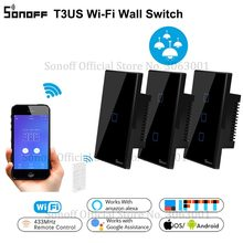 SONOFF T3 Smart Wifi Wall Light US Switch Black 120 Type With Border 1/2/3 Gang 433 RF/APP/Touch Control Works With Google Home