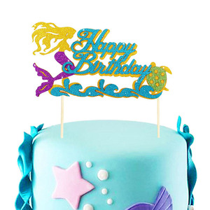 Image 3 - Happy Birthday Decoration Mermaid Paper Cake Topper Princess Garland 1st First Birthday Boy Girl Party Supplies