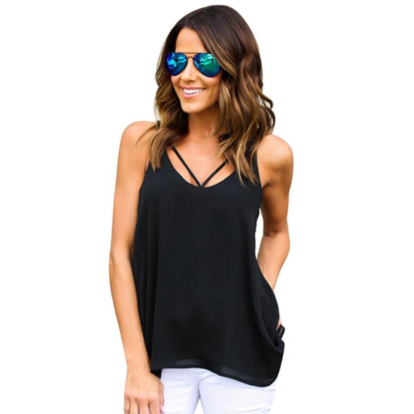 snowshine YLI Women Casual Chiffon Sling Round Neck Sleeveless T-shirt Vest