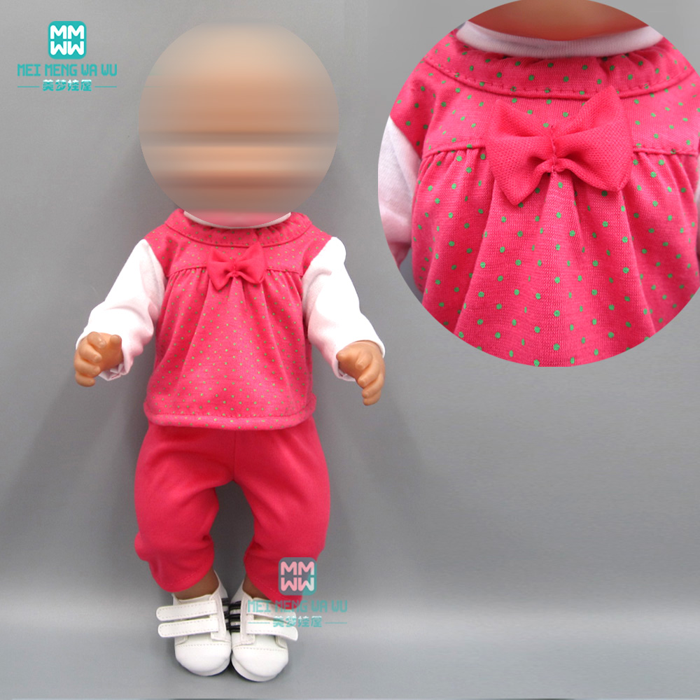 Baby Clothes For Doll Fit 43cm New Born Doll Accessories Rose Red Casual Suit