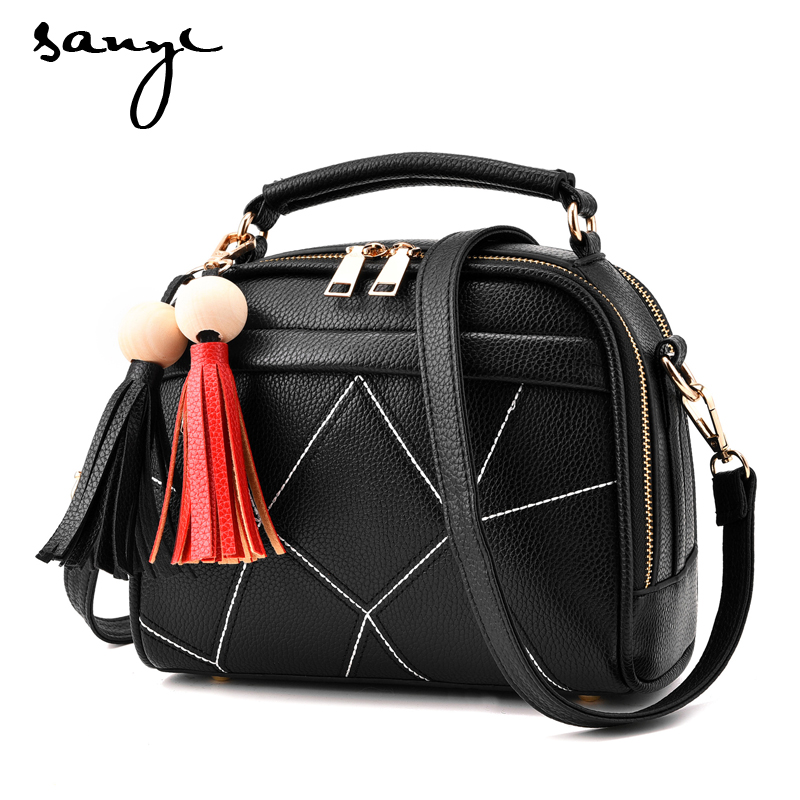 SANYI BK Small Crossbody Bags for Girls Black Leather Messenger Bag Women Zipper Soft Tassel Bag Single Shoulder Bag Flap feral cat women small shell bag pvc zipper single shoulder bag luxury quality ladies hand bags girls designer crossbody bag tas