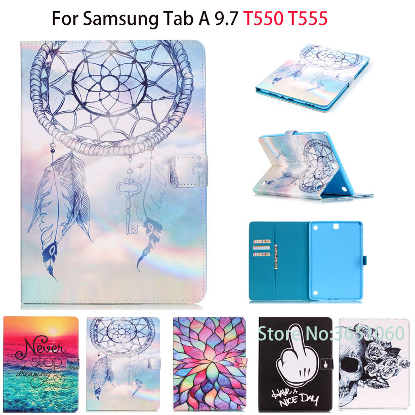 SM-T550 Fashion Painted Case For Samsung Galaxy Tab A 9.7 SM-T555 T550 P555 Cover Smart Case Funda Tablet PU Stand Skin Shell