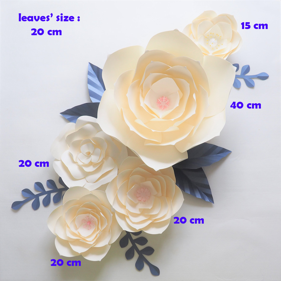 DIY Giant Paper Flowers Backdrop Artificial Handmade Ivory Paper Flower 5PCS + 7 Leaves Wedding & Party Deco Home Decoration