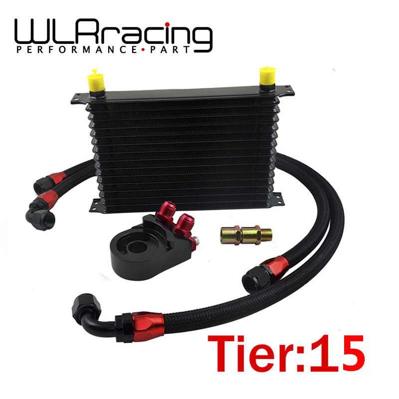 WLRING- Universal 15 ROWS Trust type OIL COOLER + AN10 Oil Filter Cooler Sandwich Plate Adapter + 2PCS NYLON BRAIDED HOSE LINE benacquista t tout a l ego