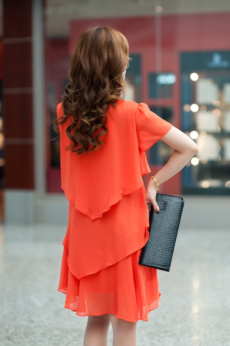 Vestido De Festa Summer Dresses 5XL Plus Size Women Clothing ropa mujer 18 Chiffon Dress Party Short Sleeve Casual Blue Black 19