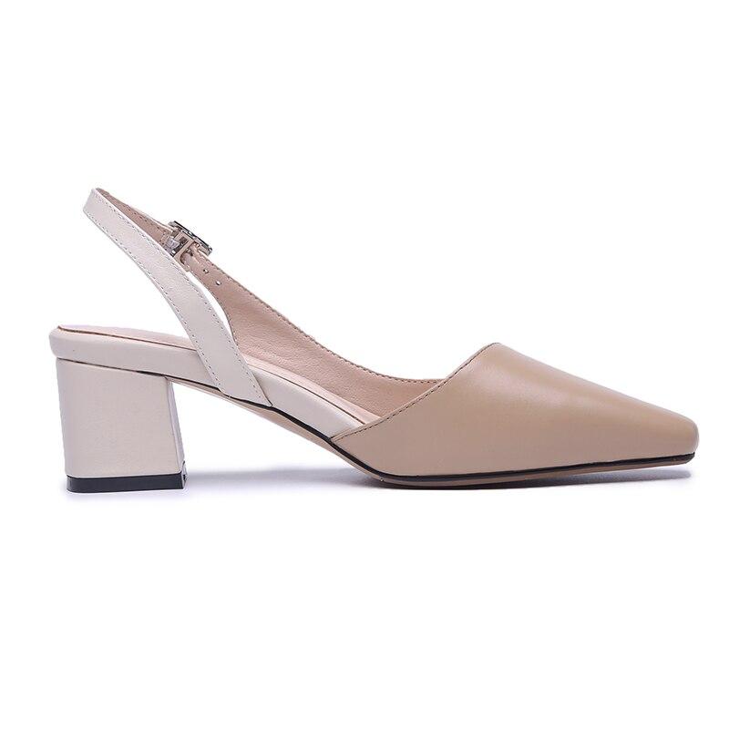 ISNOM جلد طبيعي الصنادل مربع اصبع القدم الأحذية عالية الكعب أحذية نسائية الأزياء مكتب أحذية نسائية 2019 الصيف جديد-في كعب عالي من أحذية على  مجموعة 3