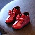 L & D Mais Novo 2016 Meninas de Inverno PU Botas Crianças Mid-Calf Sapatos Meninas planas Pontas Do Dedo Do Pé Botas de Neve das Crianças Sapatos Menina Rosa Verde Vermelho