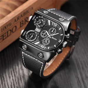 Image 2 - Oulm Watches Mens Quartz Casual Leather Strap Wristwatch Sports Multi Time Zone Military Male Clock erkek saat Dropshipping