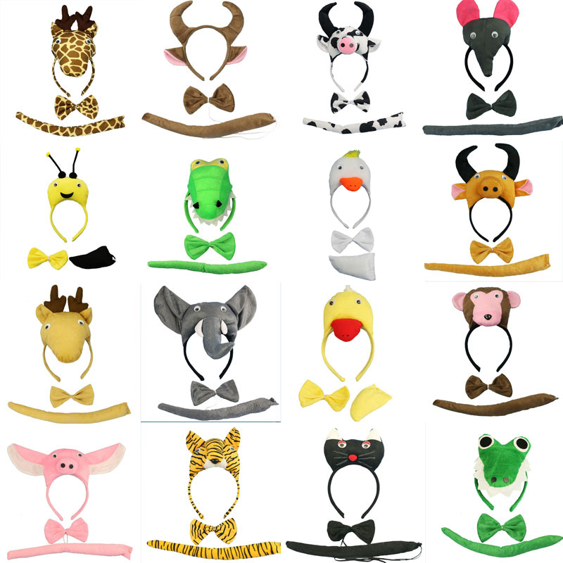Animal öron Hairband Headband Bow Tie Tail Cat Panda Fox Duck Cosplay Haibands Set Party Favor Halloween Christmas Navidad
