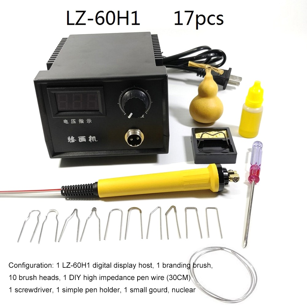 Digital Display Pyrography Machine AC 220V 60W Gourd Strip Digital Temperature Control Leather Wood Or Bamboo Craft Tool KitsDigital Display Pyrography Machine AC 220V 60W Gourd Strip Digital Temperature Control Leather Wood Or Bamboo Craft Tool Kits