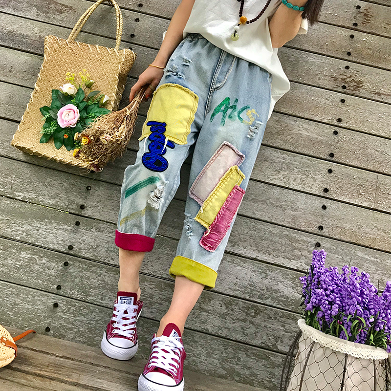 New Nice Spring Summer Womens Denim Jeans Colorful Appliques Ripped Jeans Feminino Calf-Length Capris Pants Denim Trousers NZ24