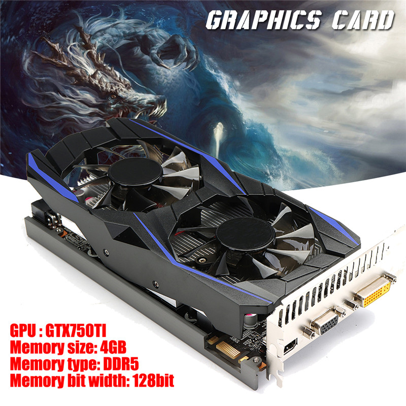 GTX750TI 4GB DDR5 128Bit Game Graphics Card HDMI With Cooling Fans For NVIDIA Graphics Cards Computer Components computer graphics cards cooler fan colorful 75mm 12v 0 18a replacements for 9800gt 9600gt graphics cards fans red color p0 11