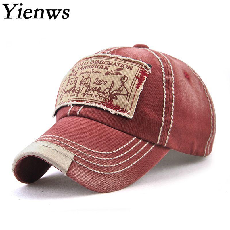 Yienws Bones gorras de béisbol para hombre lavar Chapeau Homme Vintage 2018 gorra completa papá camionero sombreros Casquette Homme negro YIC537