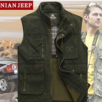 The classic 2017 high quality pure cotton JEEP vest Spring and summer leisure Many pocke photography vest men director coat