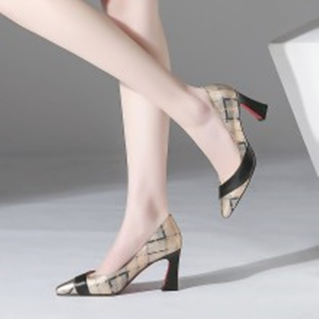 ZVQ Cow Leather maiden Shallow Pumps video engagement pumps woman comfortable spring mixed colors high heels shoes plus size
