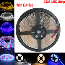RGB LED Stirp 3528 EU Plug Light SMD 60leds/m DIY Flexible 220V Tape Light(China)