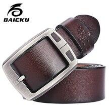 BAIEKU коровьей натуральная кожа пояса для мужчин бренд Ремень мужской пряжкой фантазии старинные джинсы cintos бесплатная доставка